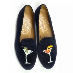 Stubbs and Wootton Velvet MARTINIS Loafers Blue